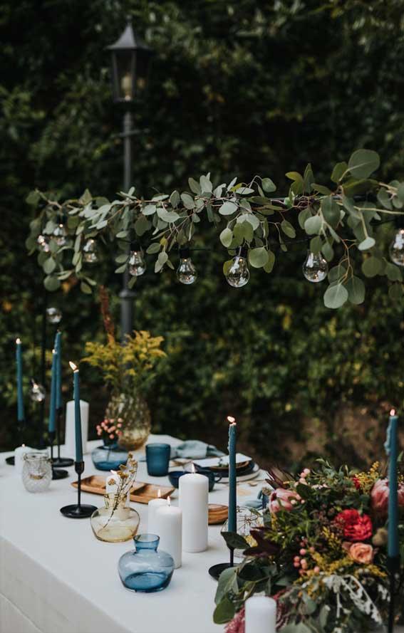 fall wedding table decors, wedding table decoration, blue and gold wedding table, elegant wedding table, blue and gold wedding table decor, blue and gold wedding theme