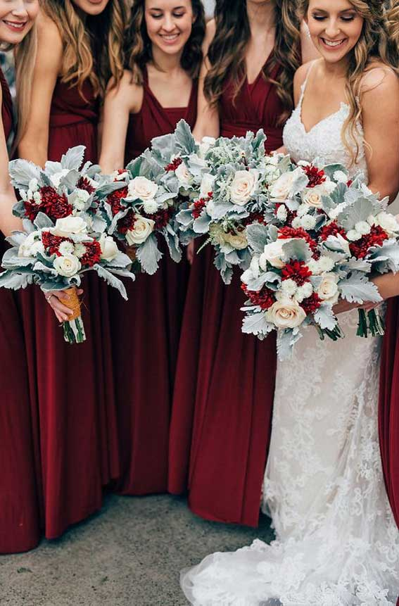 burgundy and sage wedding, sage green and burgundy wedding, burgundy and sage bouquet, red bridesmaid dresses, burgundy bridesmaids and sage wedding bouquet, sage and burgundy wedding theme