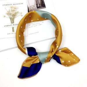 Yellow mustard and navy blue with mint accents hair scarf