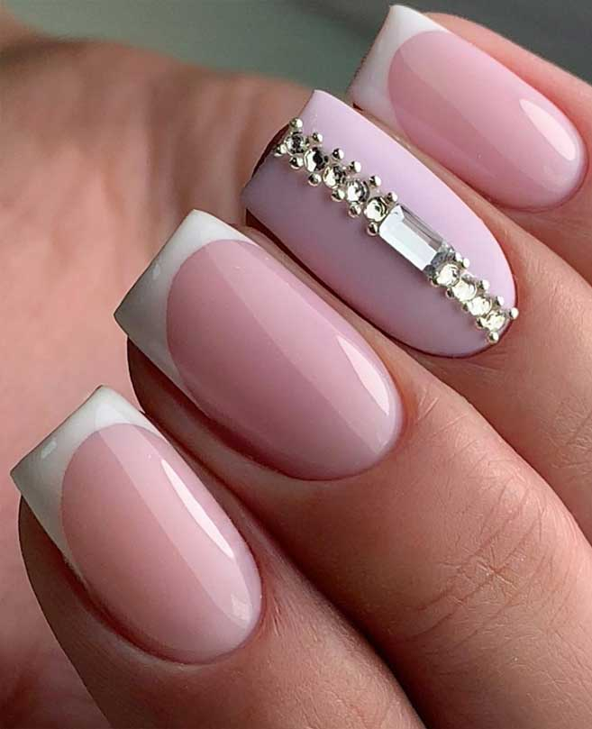 100 Beautiful Wedding Nail Art Ideas For Your Big Day – Light pink French nails with crystal details