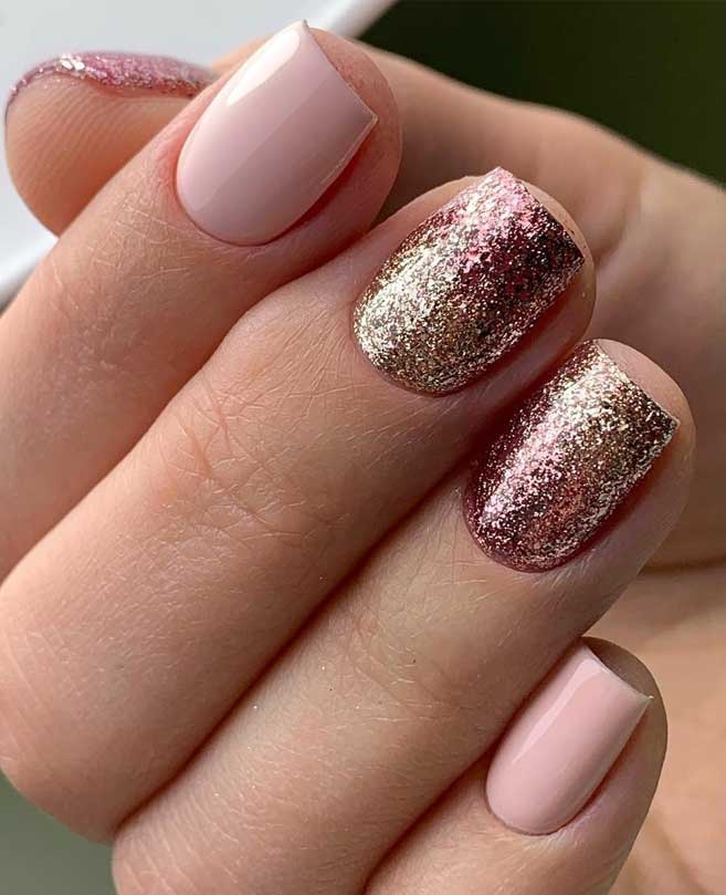 100 Beautiful Wedding Nail Art Ideas For Your Big Day – pink nail with glitter
