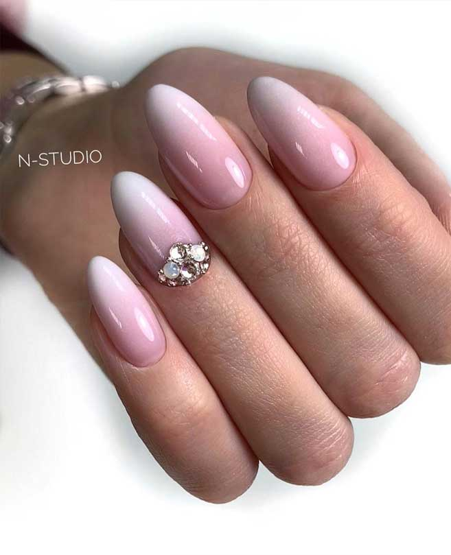 100 Beautiful Wedding Nail Art Ideas For Your Big Day – pink almond-shaped nails