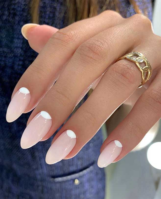 100 Beautiful Wedding Nail Art Ideas For Your Big Day – Light pink almond-shaped nails