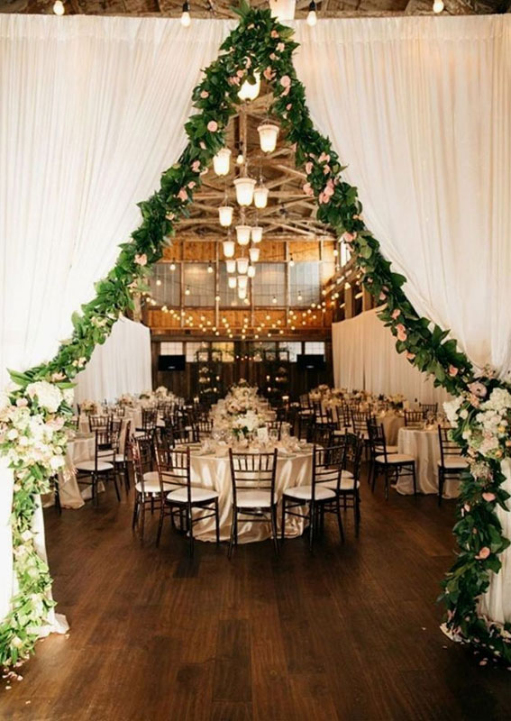 Wedding reception - Winter wedding reception ideas , tulle with greenery decorated entrance entryway to wedding reception