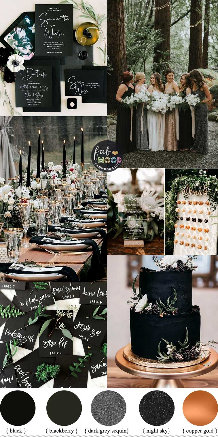Black and Green Wedding Color Combos + Black Mismatched Bridesmaid Dresses