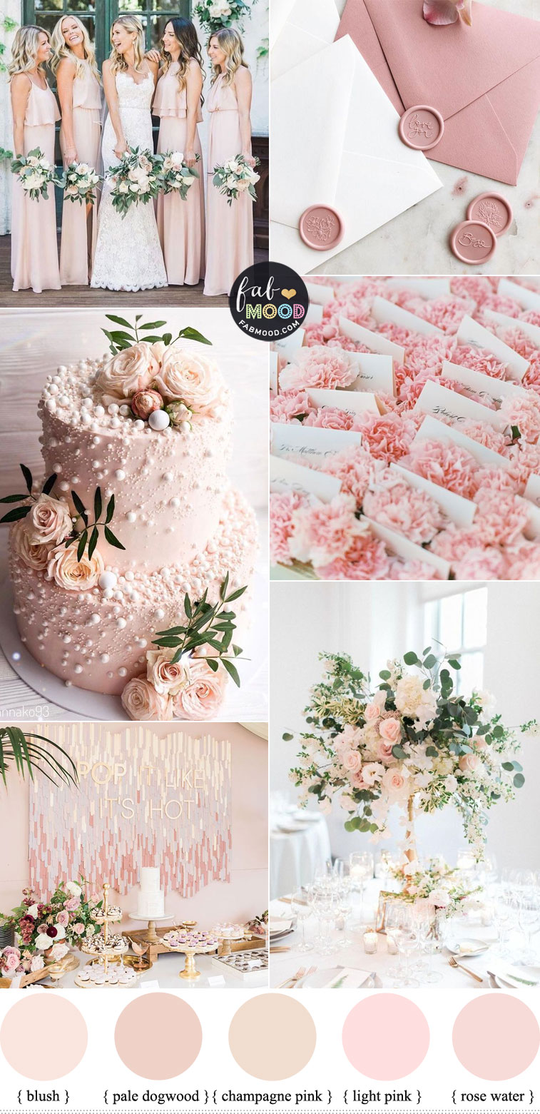 blush pink wedding color combos 2020 , pink wedding color palette #pink #colorpalette