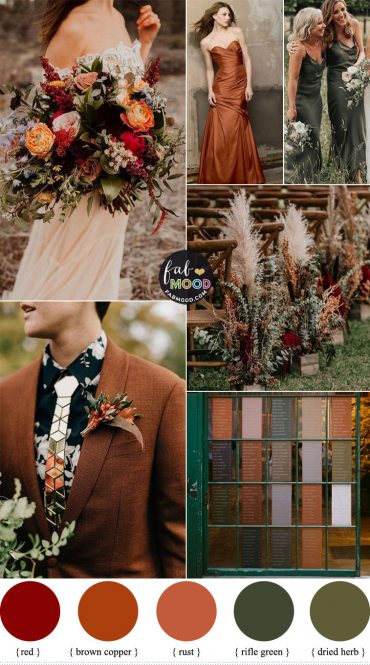 brown copper rifle green wedding color palette, wedding colors , brown copper color, rifle green color, autumn wedding color, fall wedding