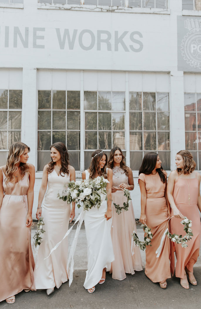 mismatched bridesmaid dresses, pink bridesmaid dresses , bridesmaid dresses , spring wedding , wedding colors #bridesmaiddresses