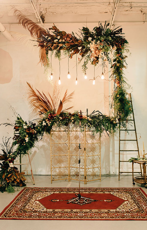 boho wedding arch with greenery ,wedding ceremony decor