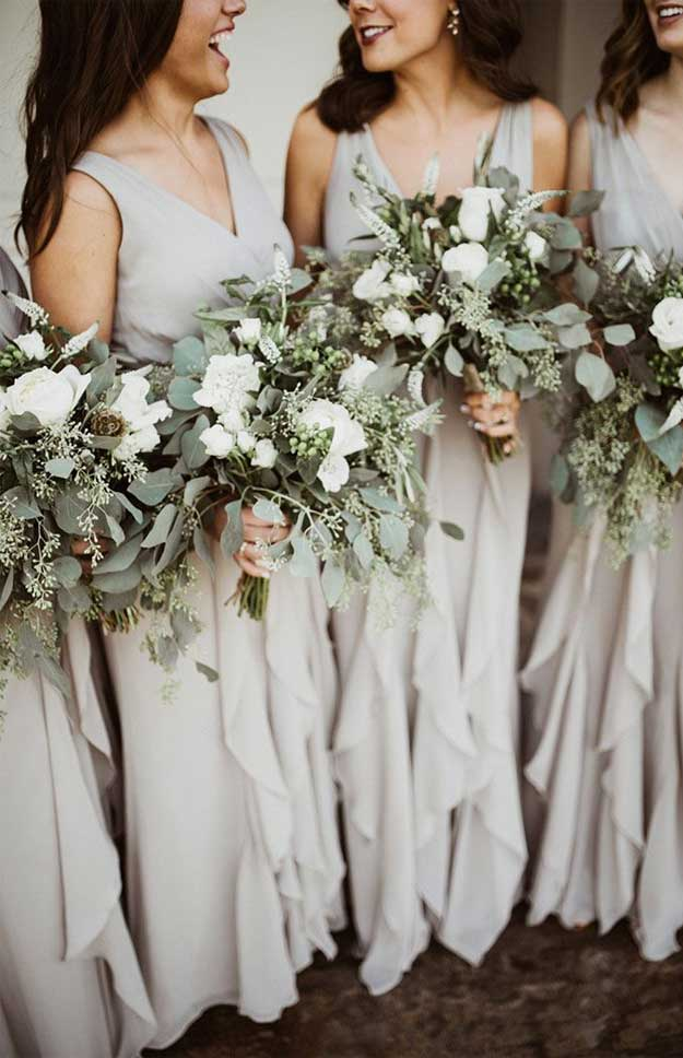neutral bridesmaid dresses, white and green wedding bouquets