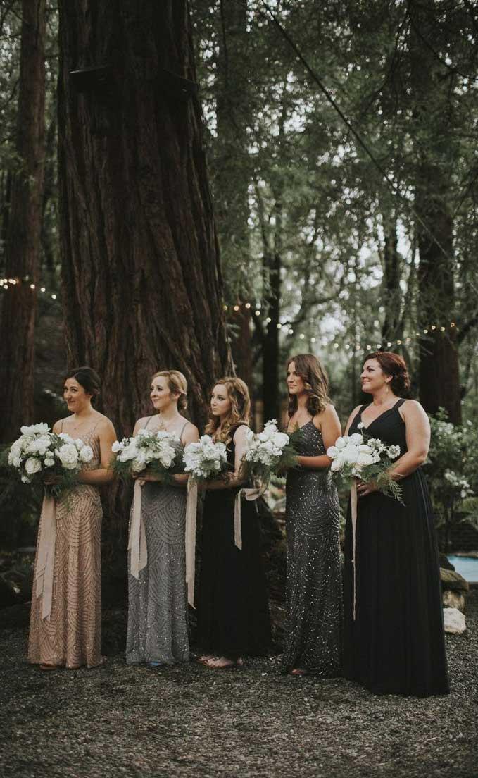 mismatched black bridesmaid dresses, mismatched bridesmaid dresses, black bridesmaid dresses