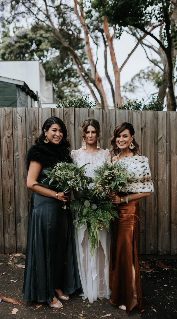 winter bridesmaid dresses, black winter wedding wraps