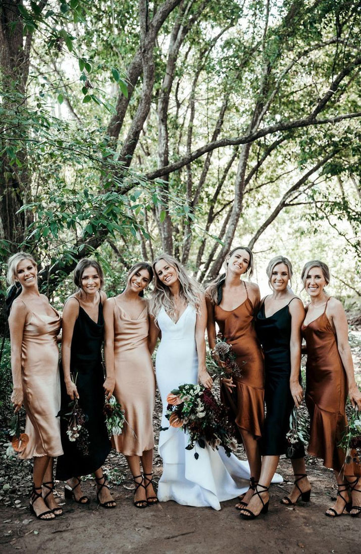 black copper and neutral mismatched bridesmaid dresses, mismatched bridesmaid dresses