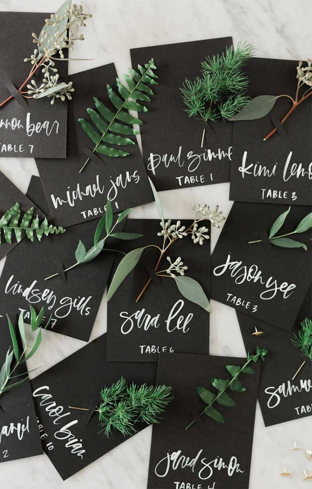 black place cards, black escort cards, black place cards with greenery #weddingplacecards
