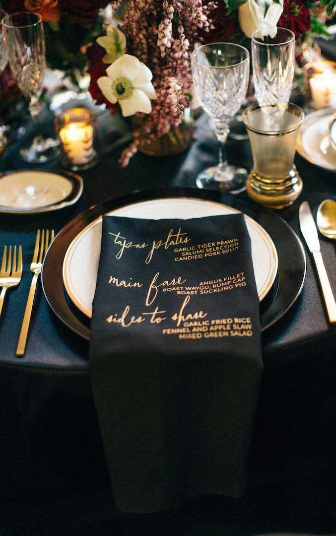 elegant wedding decor, black and gold wedding menu #weddingideas #weddingmenu