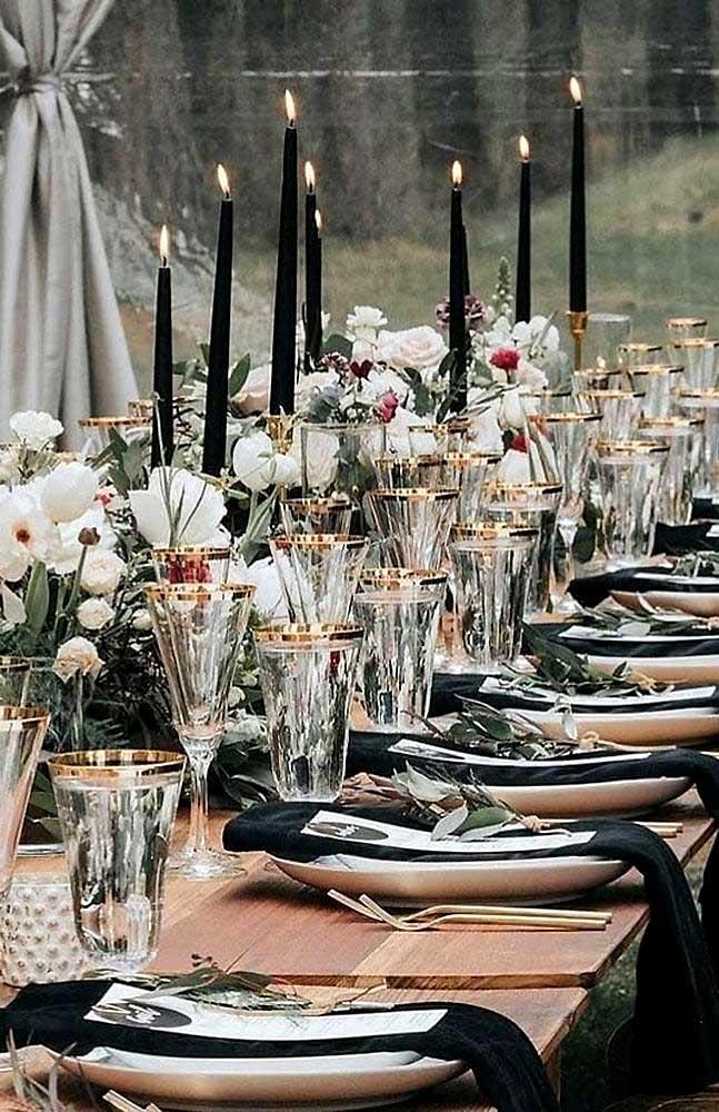 elegant black and gold wedding table decors, wedding table decoration, black wedding, black candle wedding