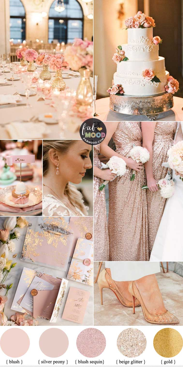 Blush Rose Gold Wedding Colour Palette For Elegant Ballroom Wedding