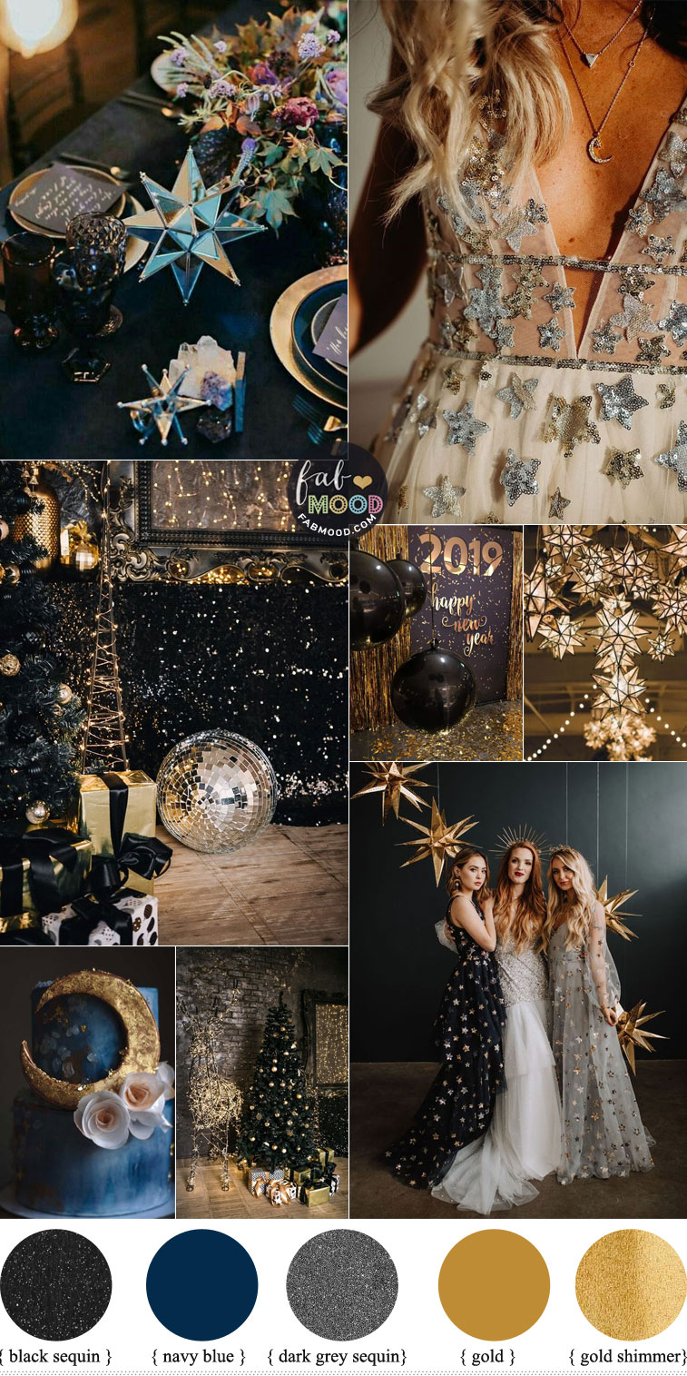 celestial wedding theme, new year's eve wedding, blue gold wedding colors, black gold wedding colors #colorpalette