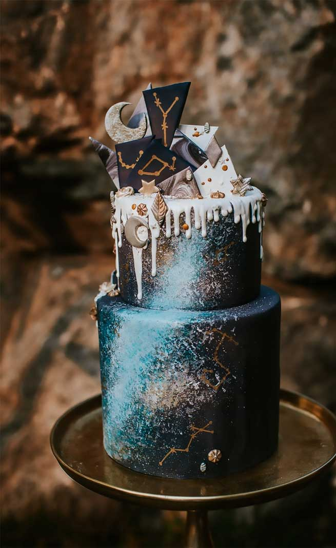 celestial wedding theme, celestial wedding cake