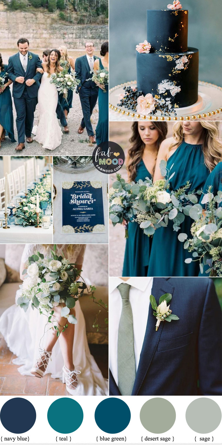 Navy Blue, Sage and Teal Wedding Color Combos