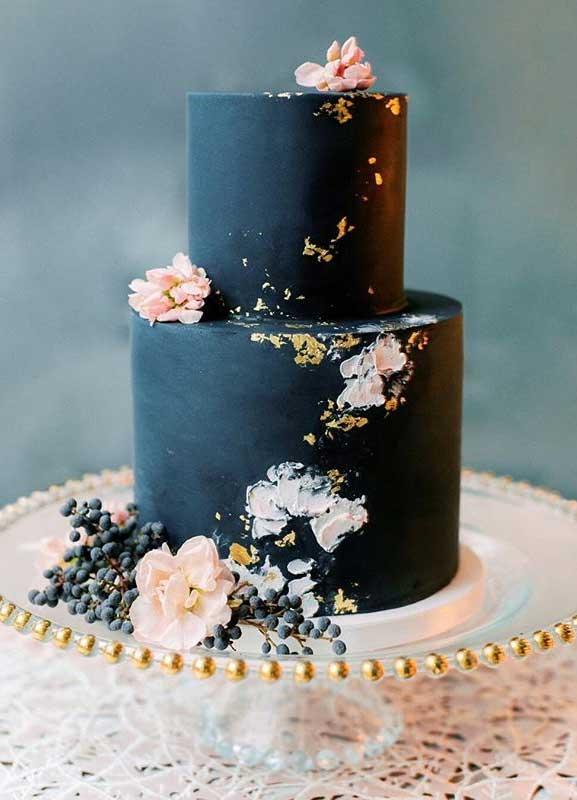 moody wedding cake, dark blue wedding cake with blush flowers, wedding cake, two tier wedding cake #wedidngcake