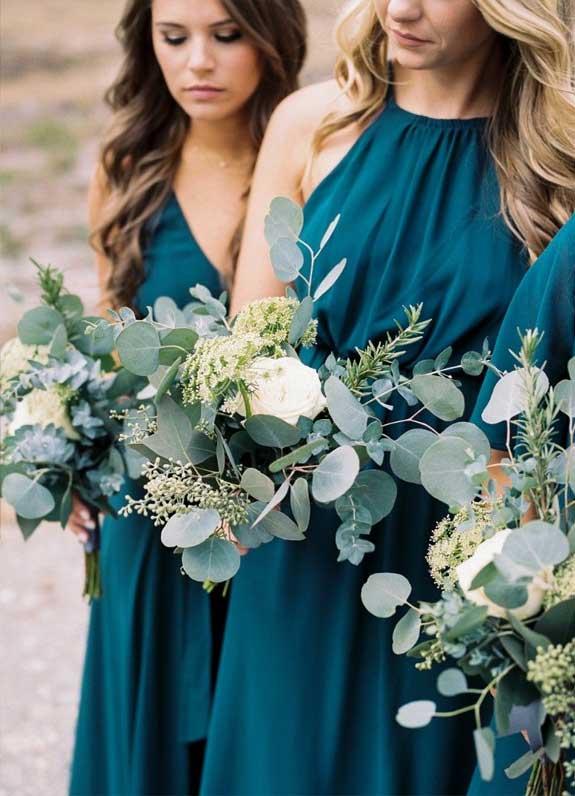 mismatched sage bridesmaid dresses, teal bridesmaid, white and sage wedding bouquet, summer wedding , sage wedding ideas #sagewedding