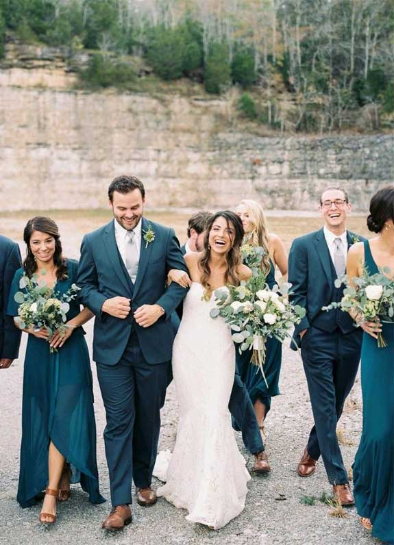 mismatched sage bridesmaid dresses, teal bridesmaid, white and sage wedding bouquet, summer wedding , sage wedding ideas #sagewedding dark blue green groom and groomsmen