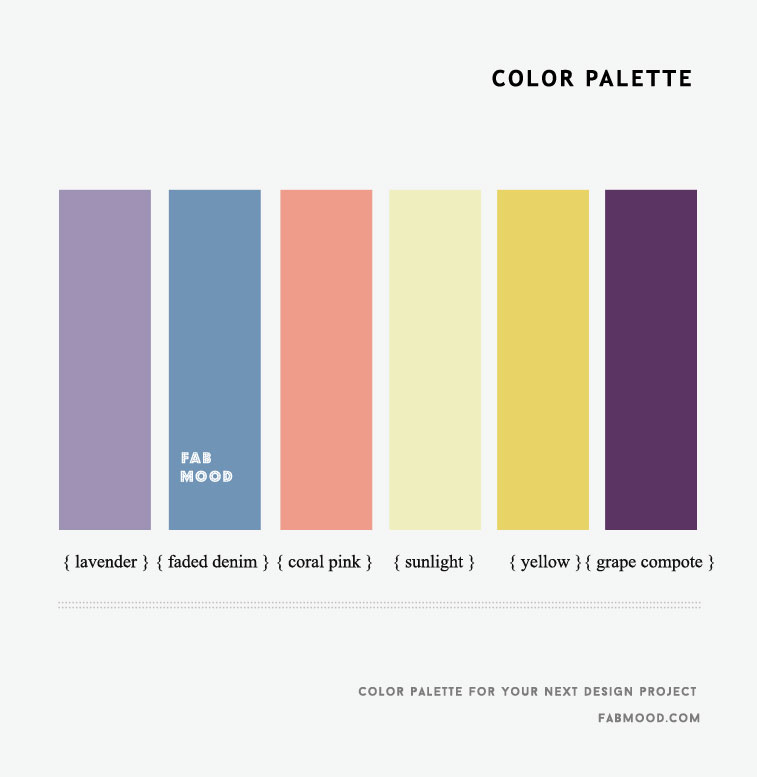 Coral Pink , Faded Denim , Lavender, Yellow and Grape Compote