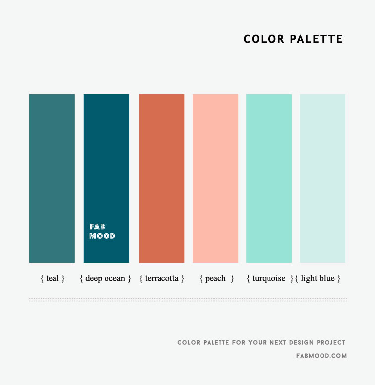 Teal, Deep Ocean, Peach , Turquoise and Light Blue