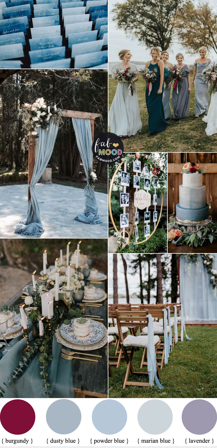 Dusty blue Wedding Color Theme with subtle hints of Burgundy + Lavender
