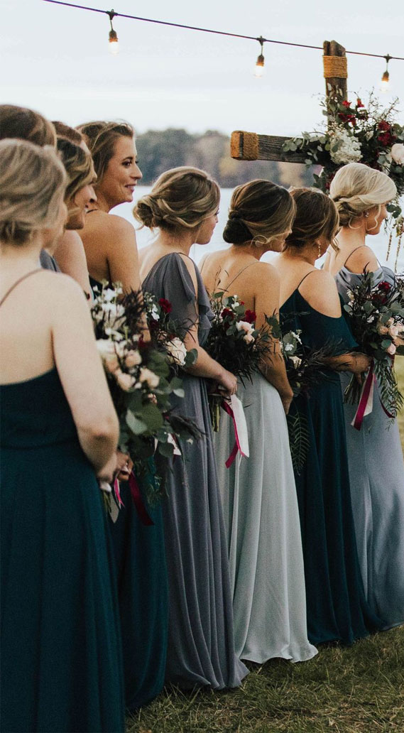 mix matched blue bridesmaid dresses, dusty blue bridesmaid dresses, blue bridesmaids, bridesmaid dresses #dustyblue #bridesmaiddresses