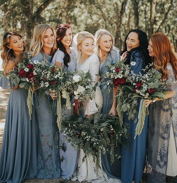 mix matched blue bridesmaid dresses, dusty blue bridesmaid dresses, blue bridesmaids, bridesmaid dresses #dustyblue #bridesmaiddresses