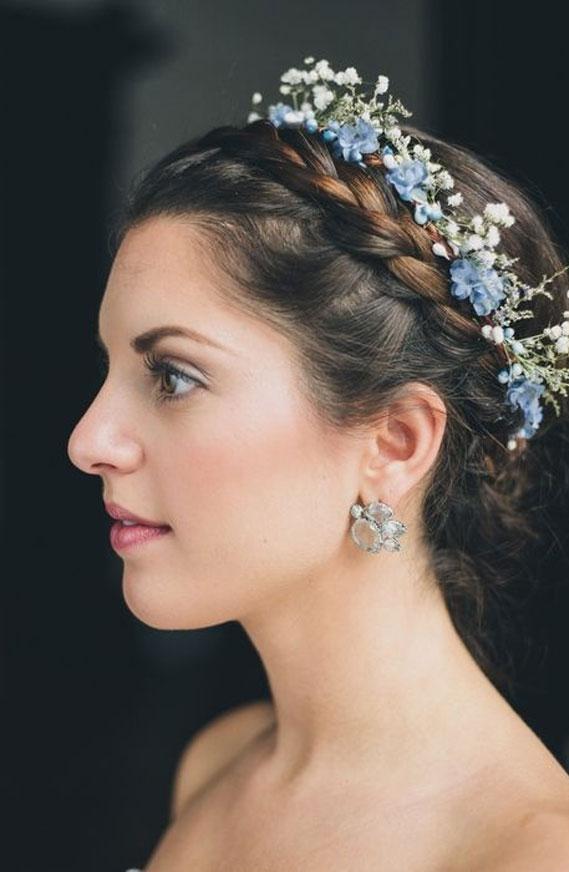 updo bridal hairstyle, wedding hairstyle, braided updo with blue floral crown, braided updo #braidedupdo #weddingupdo