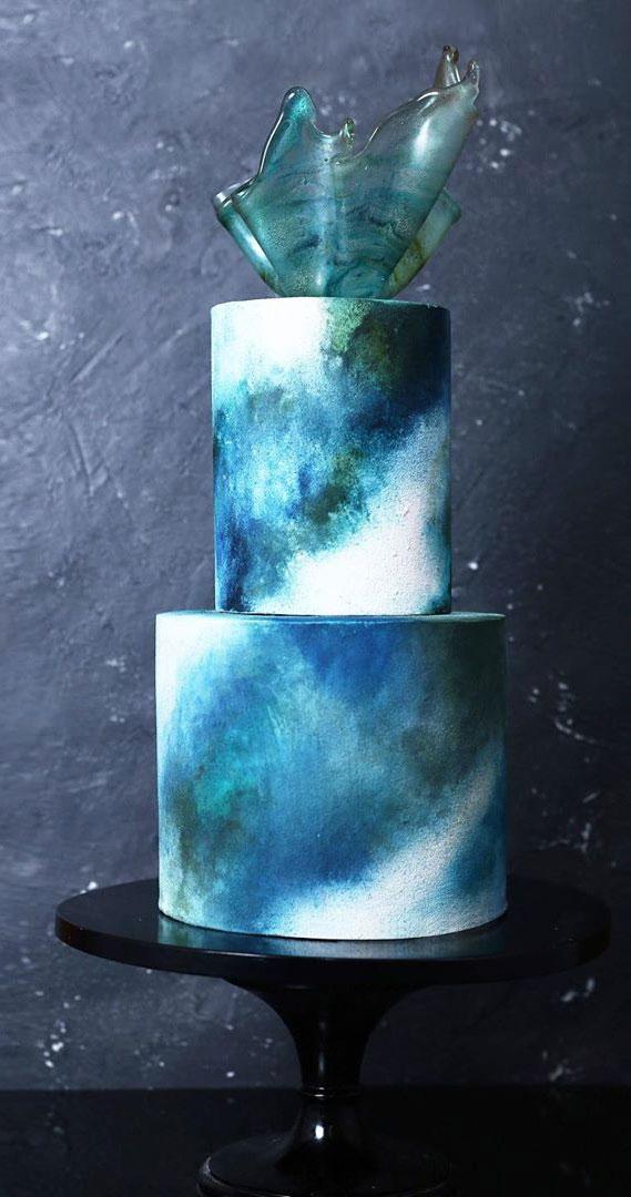 blue wedding cake, ombre blue wedding cake, wedding cake #weddingcakes