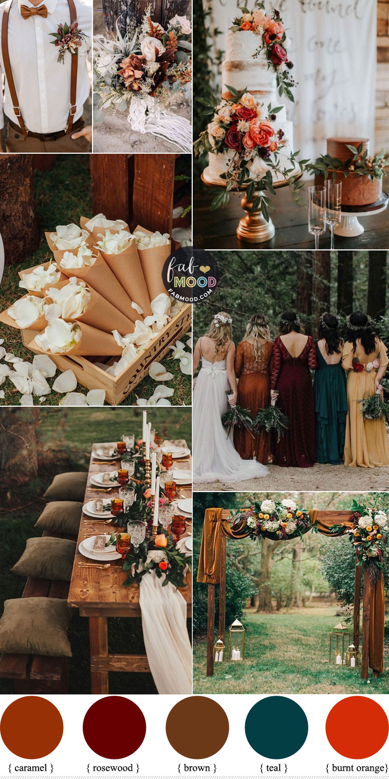 Fall wedding colors 2020 { burnt orange + teal +brown } #fall #autumn #wedding mix matched bridesmaid dress fall wedding
