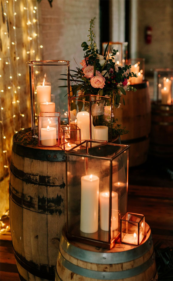 cozy wedding decoration ideas, fall wedding ideas #fallwedding , candles wedding decors, fall wedding decor candles