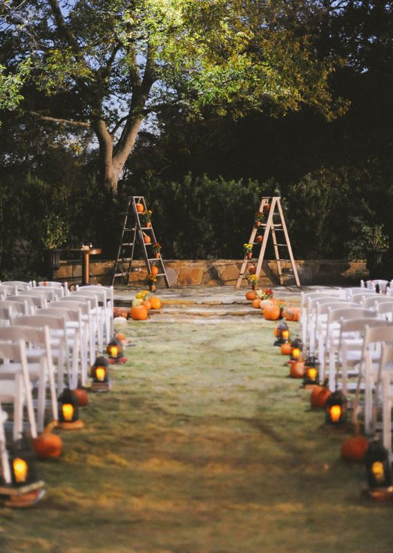 cozy wedding decoration ideas, fall wedding ideas #fallwedding , candles wedding decors, fall wedding decor pumpkins, pumpkin wedding theme, pumpkins wedding decorations, wedding aisle decor pumpkins