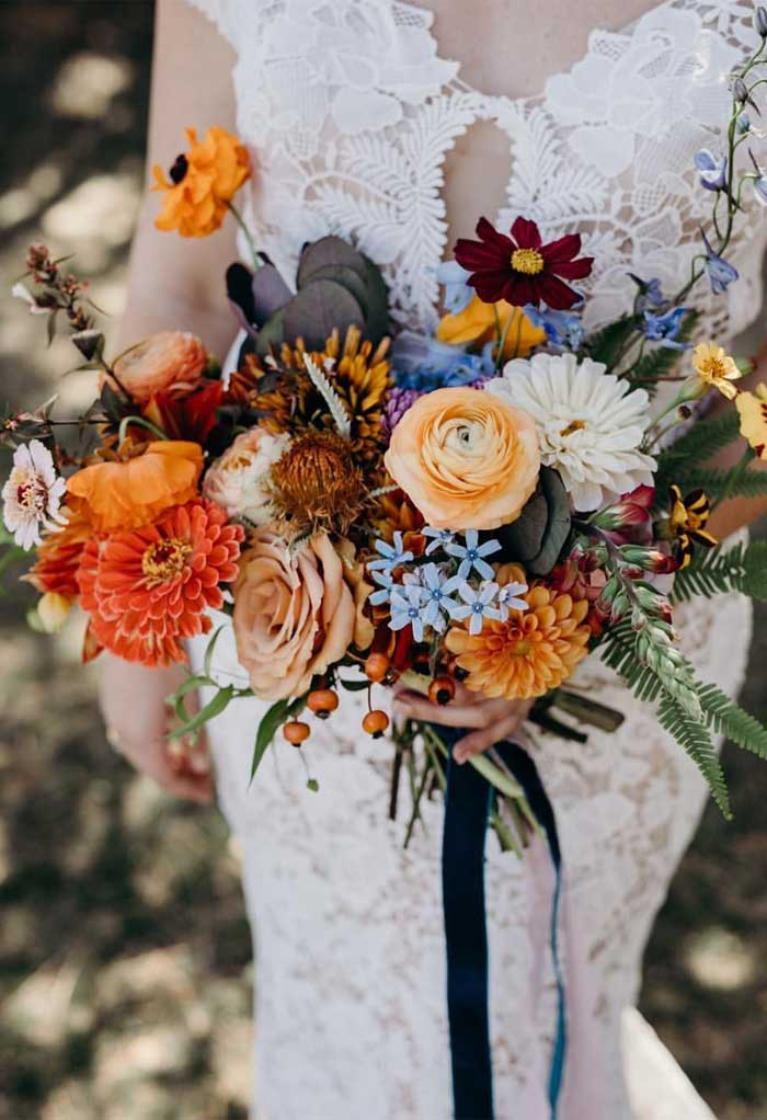 fall wedding, wedding color #color #fallwedding #colorpalette #weddingcolor dusty blue orange mustard wedding color for fall, fall wedding color ideas , fall wedding color combos, dusty blue orange wedding color schemes