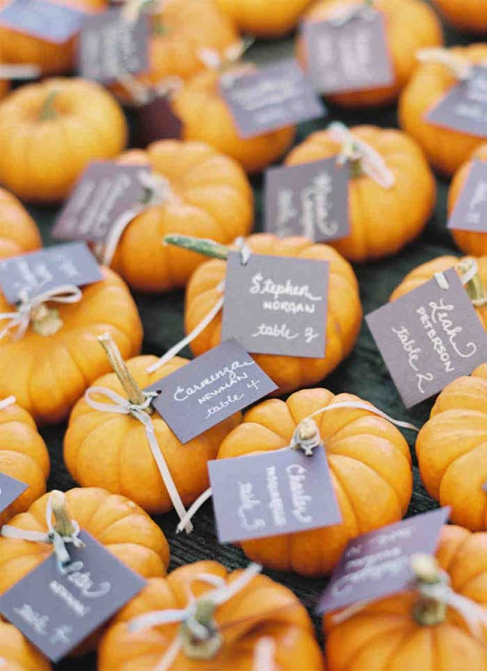 pumpkin escort cards, pumpkin wedding theme, fall wedding escort cars , pumpkin escort cards