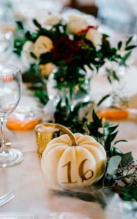pumpkin wedding table number, wedding centerpieces, fall wedding table, wedding decoration ideas