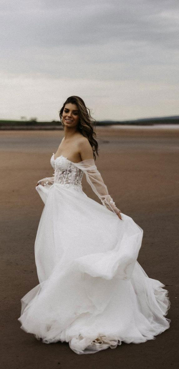 off the shoulder wedding dress, summer wedding dress, a-line wedding dress #summer #summerwedding #summerweddingdress