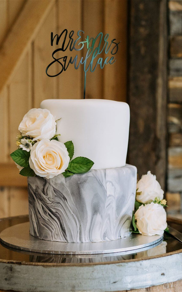 two tier wedding cake, marble wedding cake, white and grey marble wedding cake #weddingcake
