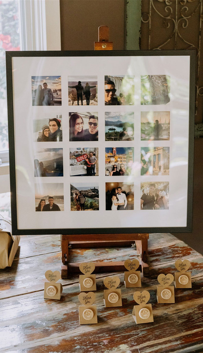 wedding photo displays, wedding photo display ideas, vineyard wedding #summerwedding #weddingphotodisplays