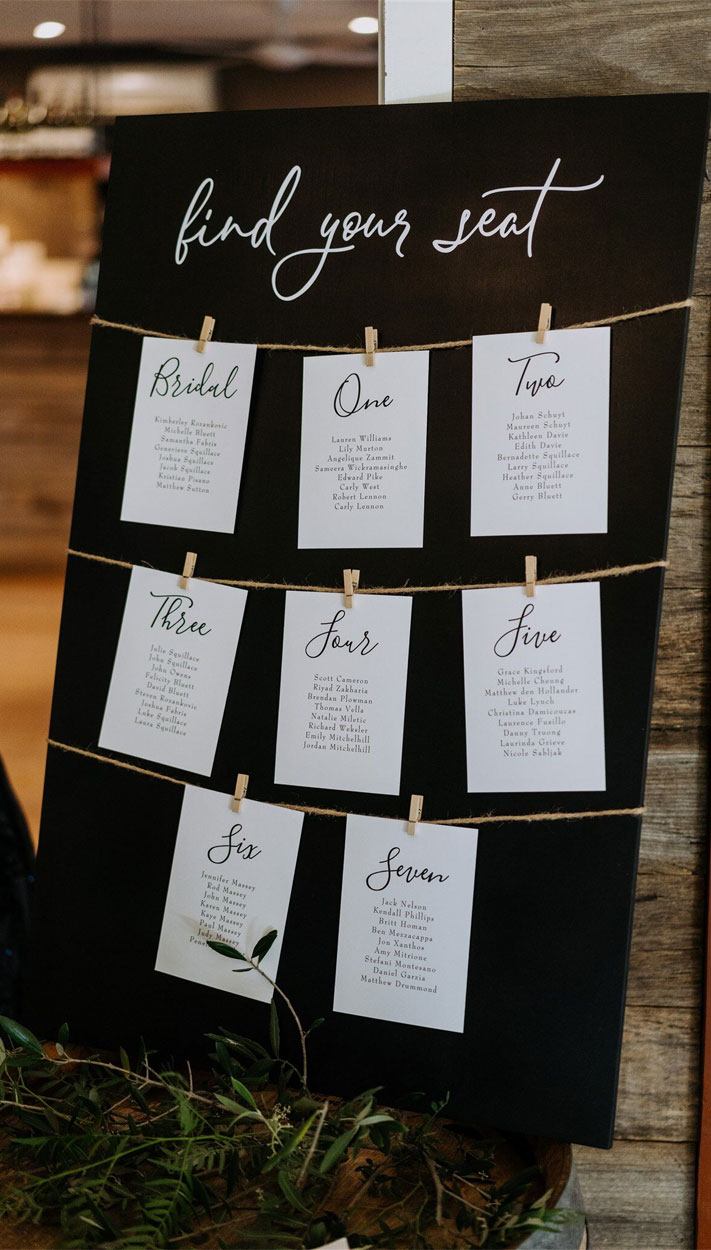 wedding seating displays, black wedding seating ideas, wedding seating ideas, seating chart wedding #seatingchart #blackwedding