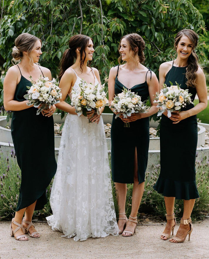 mismatched black bridesmaid dresses, summer wedding, black bridesmaid dresses