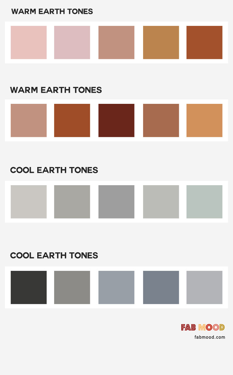 4 Earth tones color combos { Warm Earth Tones & Cool Earth Tones }