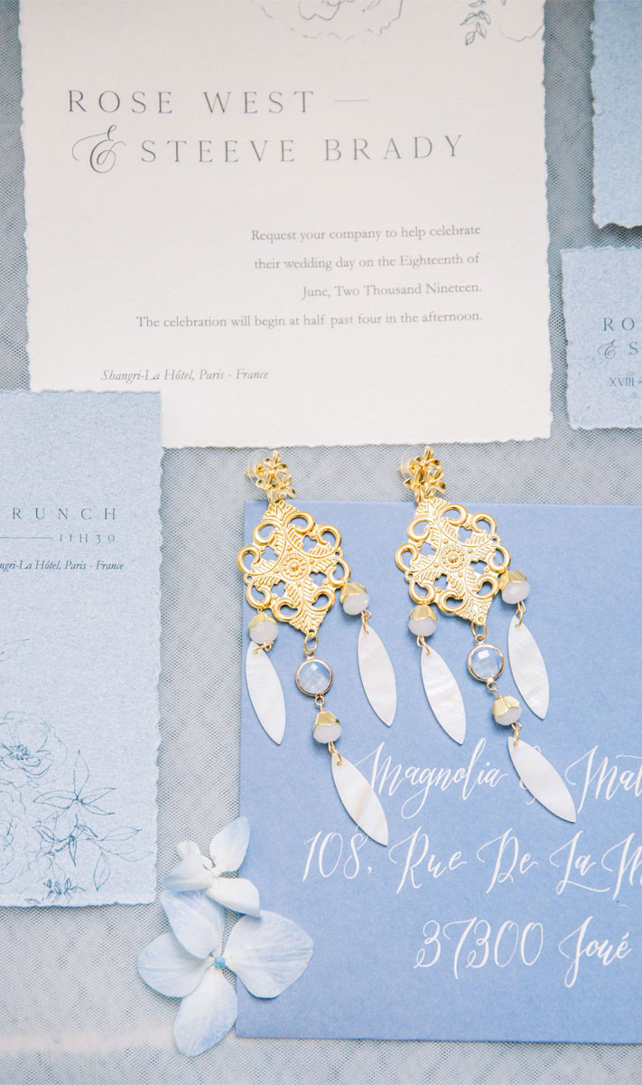 bridal jewelry, bridal earrings, blush and powder blue wedding invites #weddingcolor #blushwedding powder blue wedding color , blush and powder blue wedding ideas