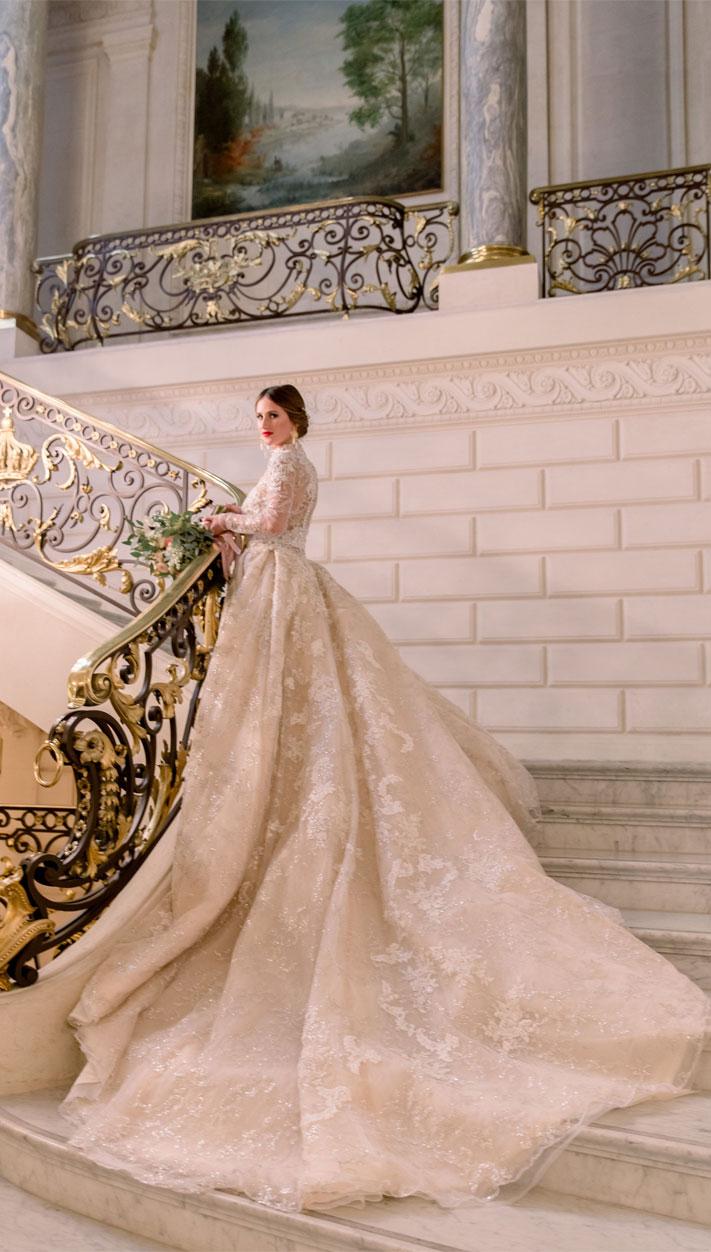 long sleeve wedding dress, elegant long sleeve wedding dress, ball gown wedding dress, #weddingdress la mariee capricieuse wedding dress