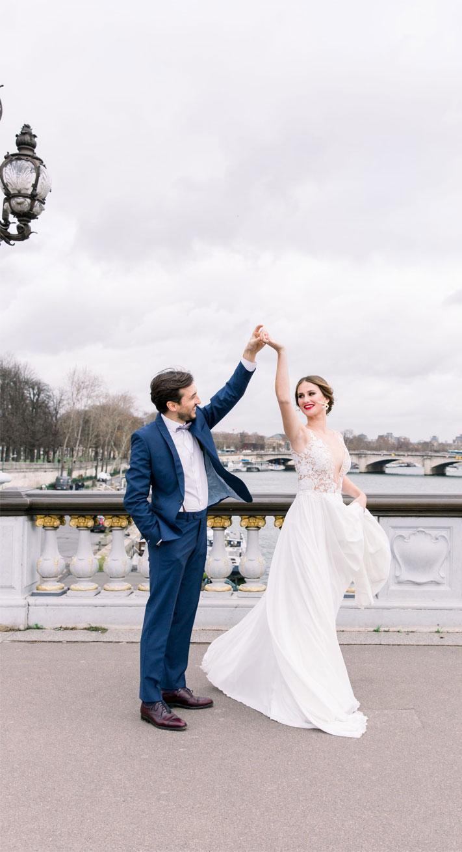 blush and powder blue, wedding in paris, bridal and groom dance, paris wedding #destinationwedding bride and groom wedding photos