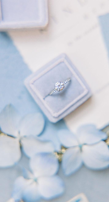 solitaire engagement rings, round cut engagement ring, powder blue ring box , velvet ring blox #ringbox #velvet